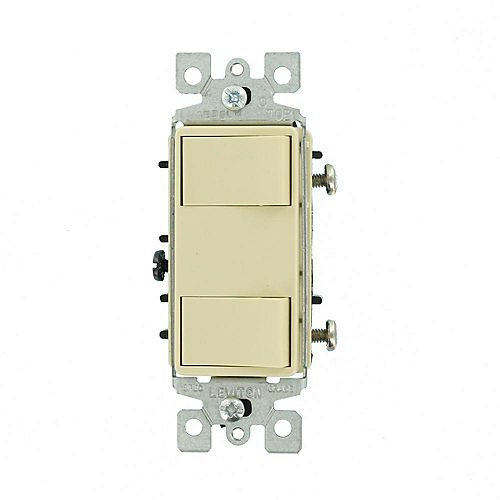 15 Amp Commercial Grade Combination Two Single Pole Illuminated Rocker Switches in Ivory