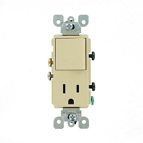 15 Amp Decora Combination Single Pole Rocker Switch and Receptacle, Ivory