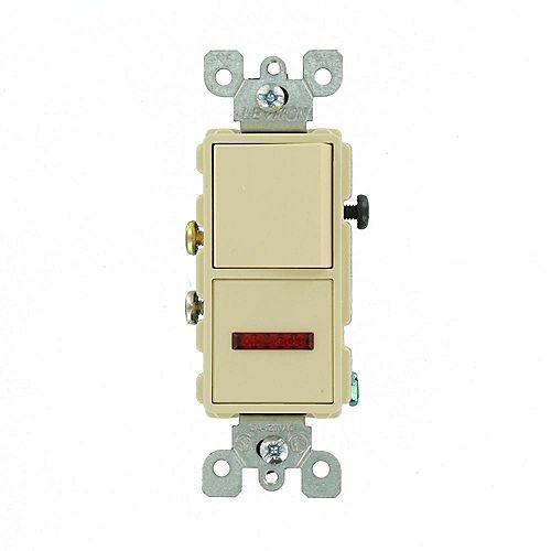 15 Amp Decora Combination Single Pole Rocker Switch and Neon Pilot Light, Ivory