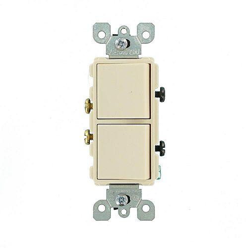 Leviton 20 Amp Decora Combination Two Single Pole Rocker Switches, Light Almond
