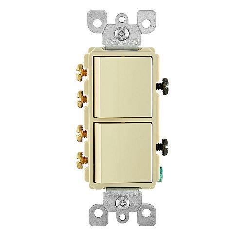 Leviton 15 Amp Decora Combination Two 3-Way Rocker Switches, Light Almond