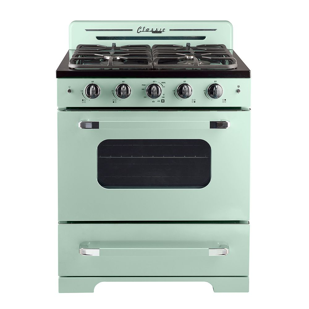 """Unique Classic Retro 30"""" 3.9 cu. ft. Gas Range with Convection Oven in Summer Mint Green"""