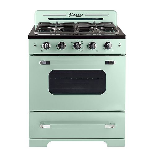 "Unique Classic Retro 30"" 3.9 cu. ft. Gas Range with Convection Oven in Summer Mint Green"