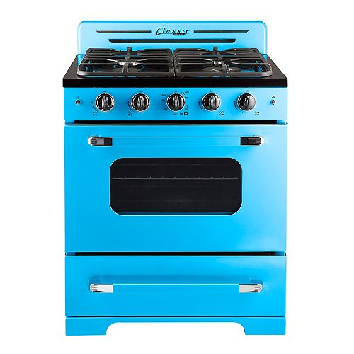 "Unique Classic Retro 30"" 3.9 cu. ft. Gas Range with Convection Oven in Robin Egg Blue"