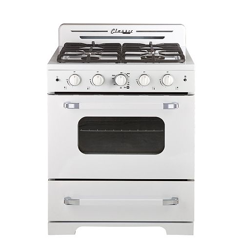 """Classic Retro 30"""" 3.9 cu. ft. Gas Range with Convection Oven in Marshmallow White"""