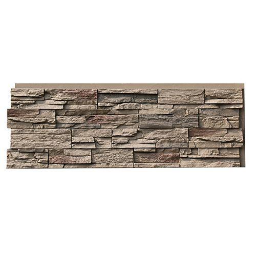 Panneau de parement champêtre, 43,5 x 15,5 po, fausse pierre, chamois Teton, ens. de 4