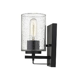 Orella 1-Light 100W Matte Black Sconce with thumb pressed glass shade