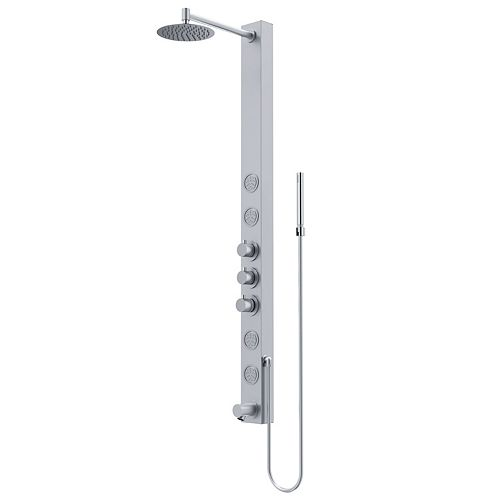 Bowery 58 in. x 4 in. 4-Jet High Pressure Shower Panel System with Circular Rainhead and Tub Filler in Stainless Steel