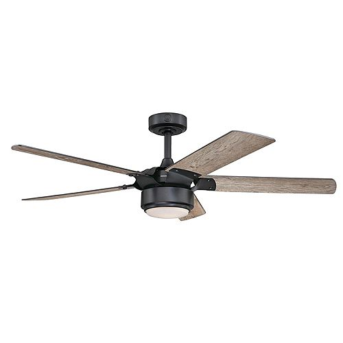 Morris 52 in. Black Iron Finish Ceiling Fan with Light Kit and Remote Control