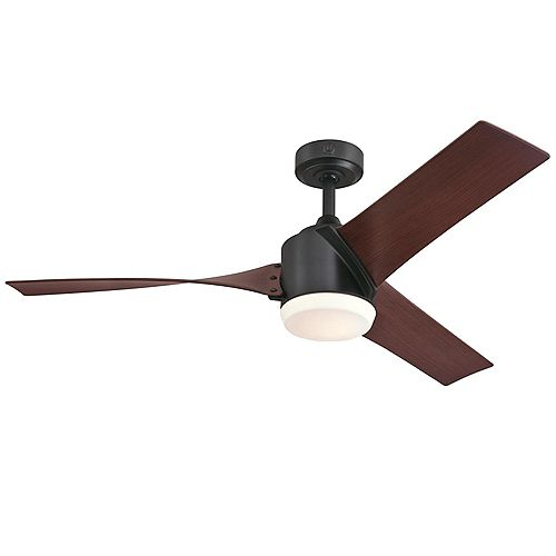 Evan 52 in. Matte Black Finish Ceiling Fan with Light Kit and remote control