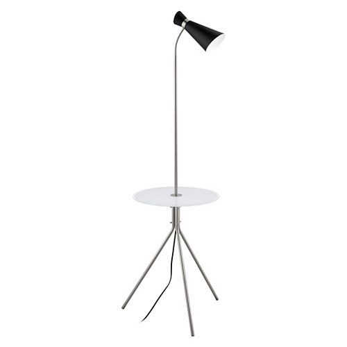 Eglo Policara 62.75-inch Matte Nickel Floor Lamp with Glass Table and Black Shade