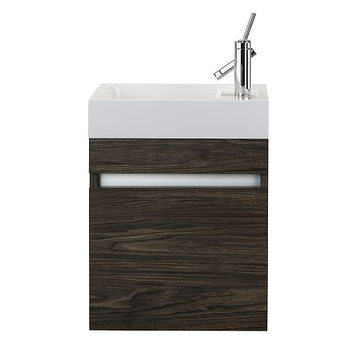 Piccolo 18W x 10D x 25H Wall-Mounted Rectangle Basin with Vanity Top in Tete a Tete