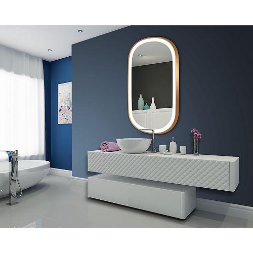 Chic LED Illuminated Oval Mirror w/Bronze Frame 32x60 - 3000K