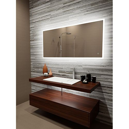 Reflection Edge Lit LED Mirror with Touch On/Off/Dim Sensor & Integrated Defogger 60 x 28 6000K