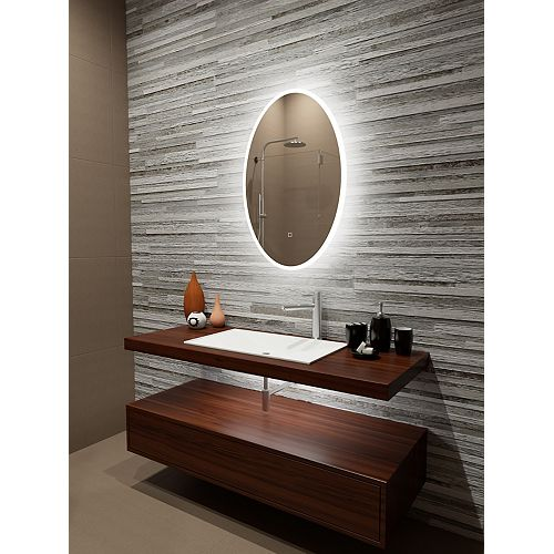 Reflection Edge Lit LED Oval Mirror with Touch On/Off/Dim Sensor & Integrated Defogger 24 x 36 6000K