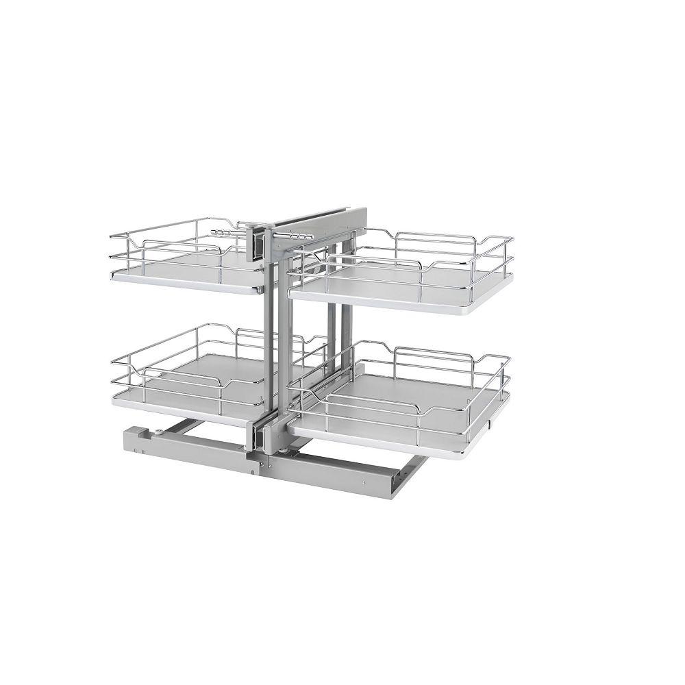 Rev-A-Shelf 18 in (457 mm) 4 Basket Blind Corner Organizer with Soft-Close, Gray/Chrome