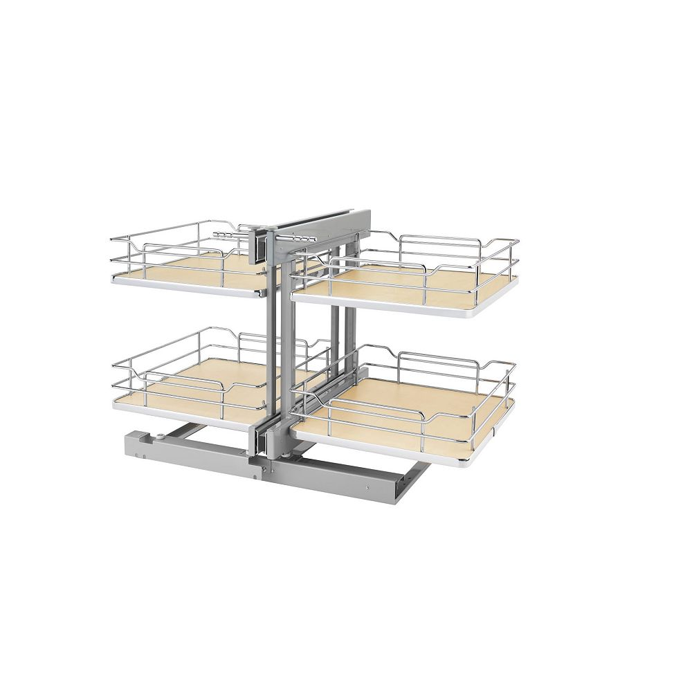 Rev-A-Shelf 18 in (457 mm) 4 Basket Blind Corner Organizer with Soft-Close, Chrome and Maple