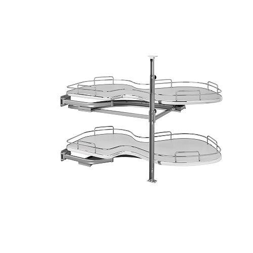 15 in (381 mm) Two-Tier Organizer for Left Blind Corner Cabinet, Gray/Chrome