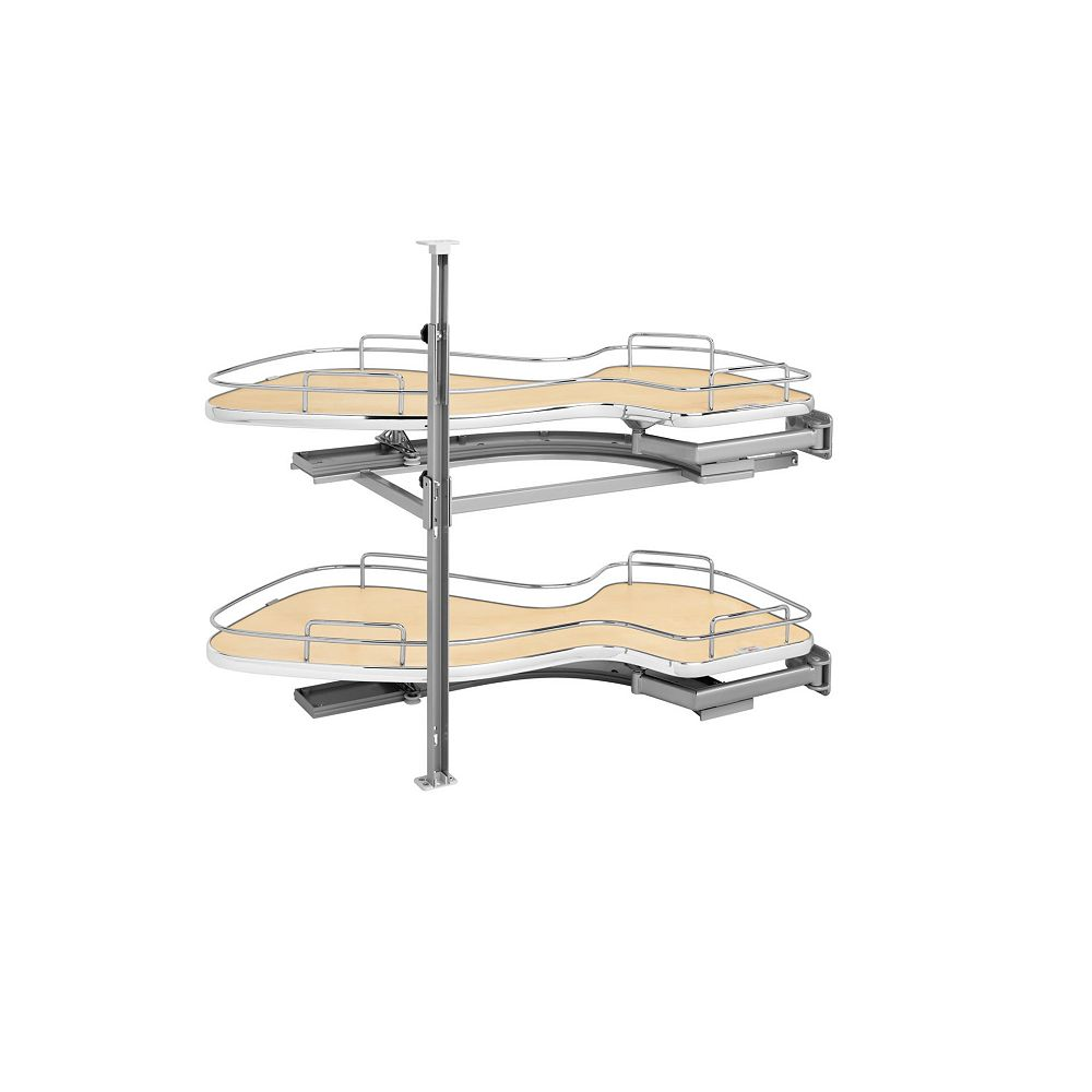 Rev-A-Shelf 15 in (381 mm) Two-Tier Organizer for Right Blind Corner Cabinet, Maple/Chrome