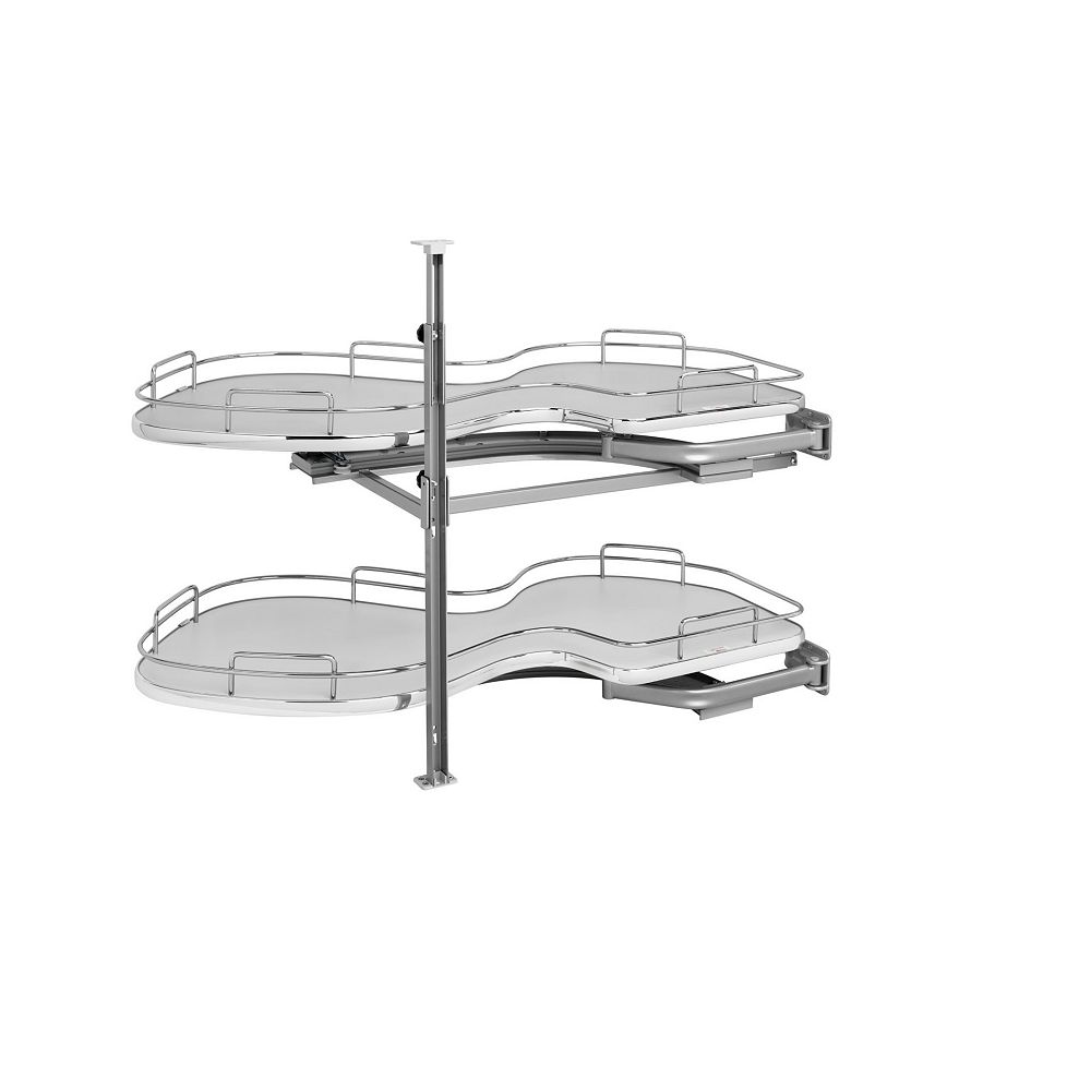 Rev-A-Shelf 18 in (457 mm) Two-Tier Organizer for Right Blind Corner Cabinet, Gray/Chrome