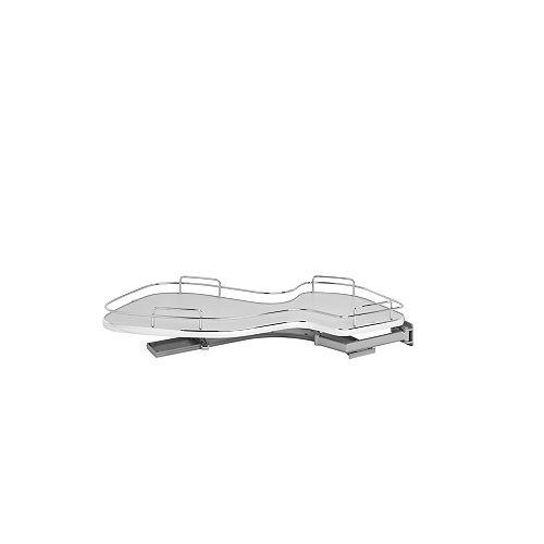 15 in (381 mm) Single-Tier Organizer for Right Blind Corner Cabinet, Gray/Chrome