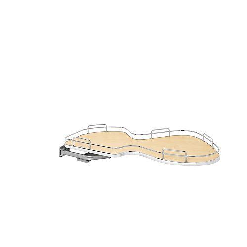 18 in (457 mm) Single-Tier Organizer for Left Blind Corner Cabinet, Maple/Chrome