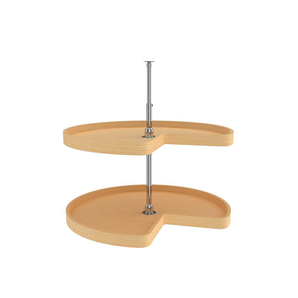 Rev-A-Shelf 32 in (813 mm) Kidney-Shaped Lazy Susans, 2 Shelves, Natural Wood