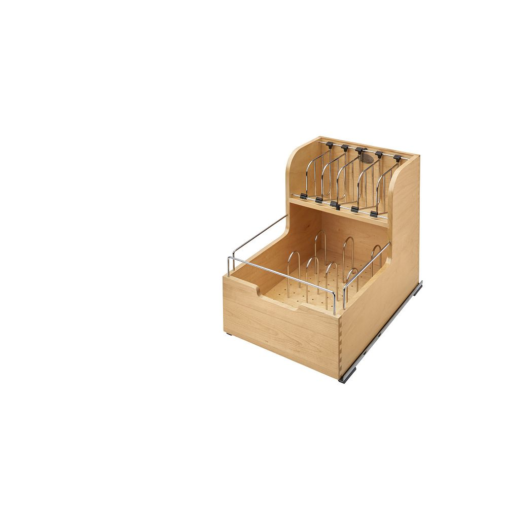 Rev-A-Shelf 14 1/2 in (368 mm) Food Storage Container Organizer with Soft-Close and Soft-Stop, Maple