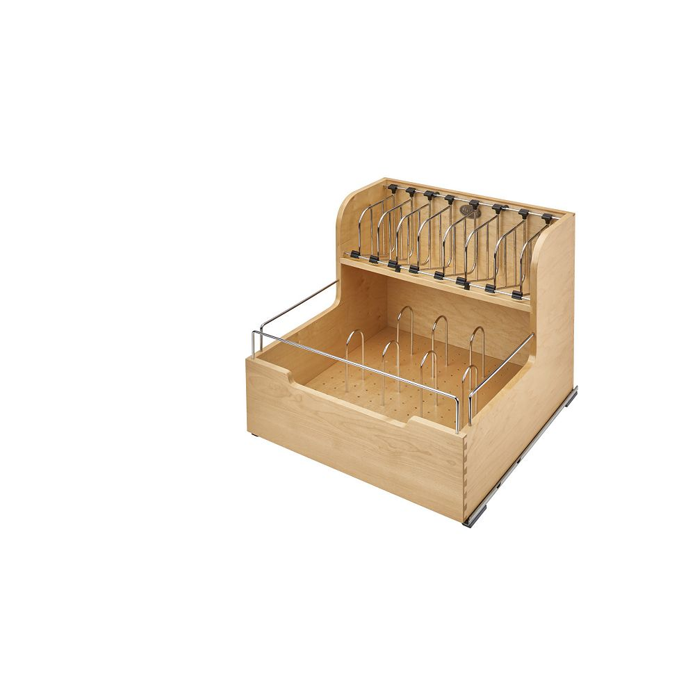 Rev-A-Shelf 20 1/2 in (521 mm) Food Storage Container Organizer with Soft-Close and Soft-Stop, Maple