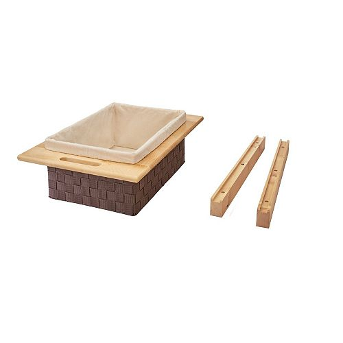 15 3/8 in to 17 5/8 in (391 mm to 448 mm) Woven Basket with Maple Rails