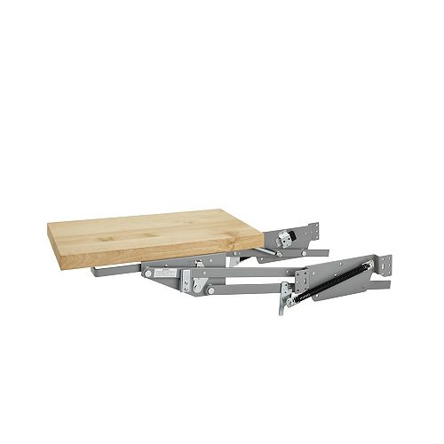 60 lb Capacity Heavy-Duty Appliance Lift with Soft-Close and Wood Shelf, Maple/Chrome