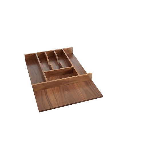 9 1/4 in to 15 1/8 in (235 mm to 384 mm) Short Wood Cutlery Tray Insert, Walnut