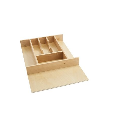 8 3/4 in to 14 5/8 in (222 mm to 371 mm) Tall Wood Cutlery Tray Insert, Natural