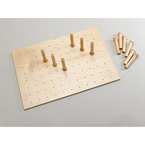 30 1/4 in (768 mm) Wood Pegboard System with Pegs, Natural Wood