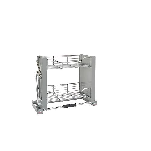 17 lbs Capacity Pull-Down Shelving System, Gray and Chrome