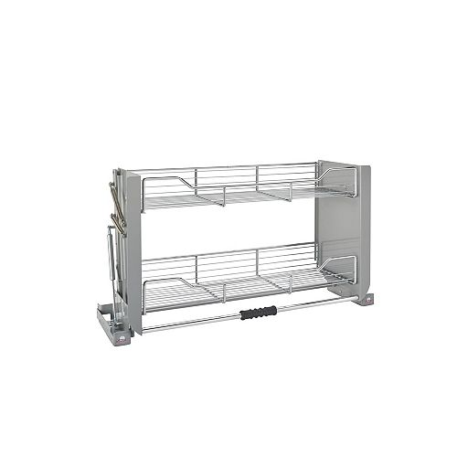 26 lbs Capacity Pull-Down Shelving System, Gray and Chrome