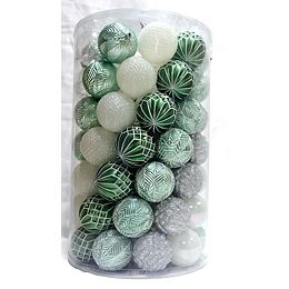80mm Shatterproof Christmas Ornaments in Green, Silver, and White (Set of 75)