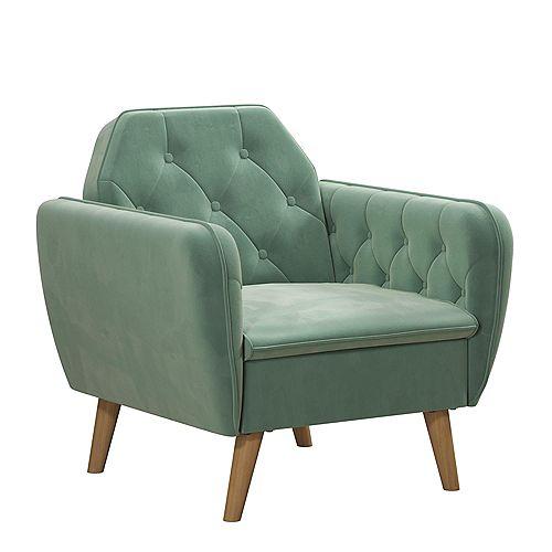Teresa 32.5in x 34in x 32.5inx Memory Foam Chair in Light Green Velvet