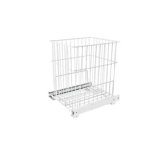 100 lb (45 kg) Capacity Pullout Wire Hamper, White