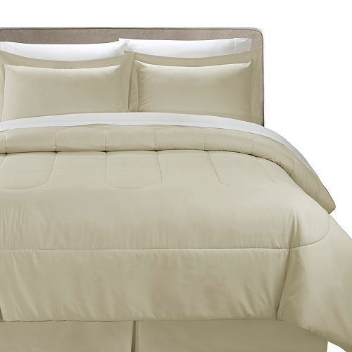 CHC 8 Piece Comforter Bed-In-A-Bag Taupe Queen