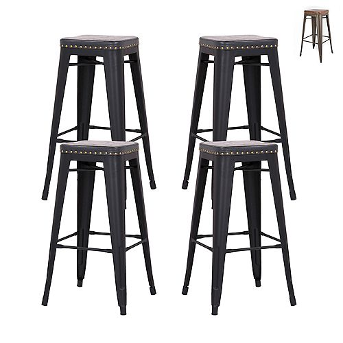 """Bronte Living 30"""" Metal Backless Bar stool with Leatherette Seat and Footrest - Matte Black - Set of 4"""