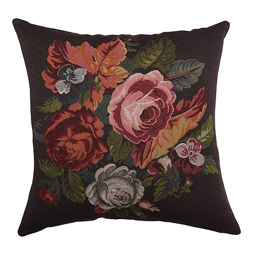 Liverpool 17-inch Tapestry-inspired Cabbage Roses Decorative Throw Pillow Brown