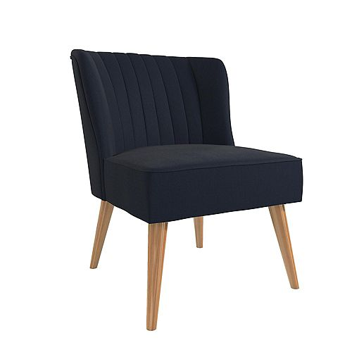 Brittany 33.5in x 29.5in x 25.5in Accent Chair in Navy Blue Linen