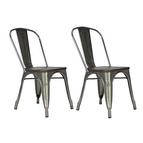 Fusion 33.5in x 20.5in x 17.5in Metal Dining Chair in Antique Gun Metal (2-pack)
