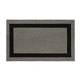 Classic Simple Black Grey Border 18-inch x 30-inch Coir Door Mat