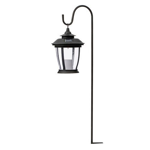 Luminaire solaire de style traditionnel 2-en-1, avec crochet de berger, fini noir