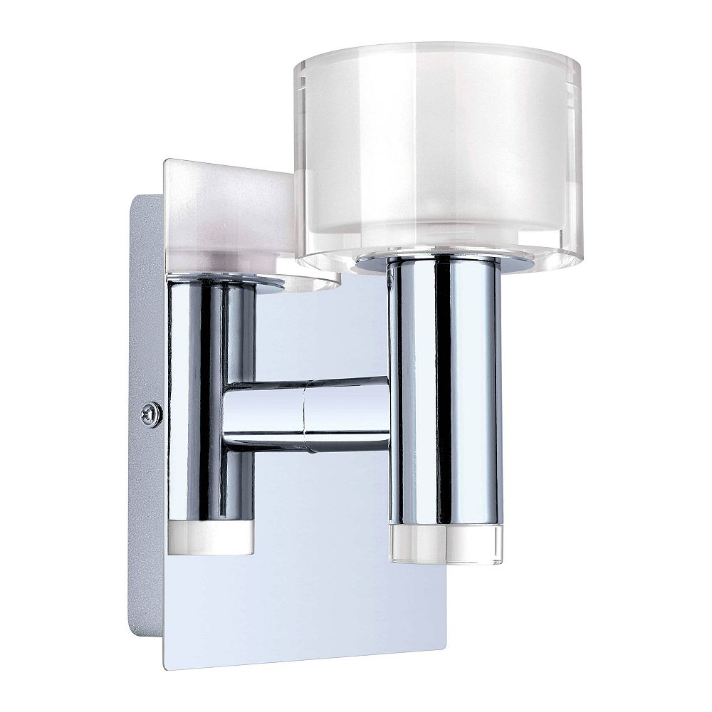 Eglo Fabiana 1-Light Chrome Wall Sconce with Satin and Clear Glass Shade