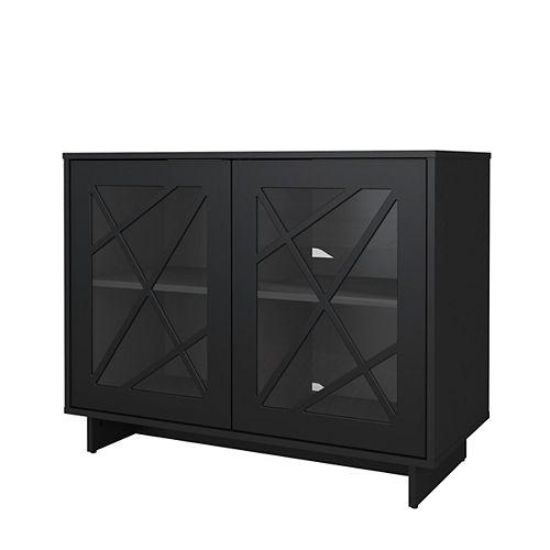 Armoire de rangement Paragon à 2 portes en verre avec design linéaire en noir