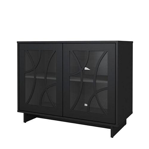 Paragon Diamond Design Glass 2 Door Storage Cabinet in Black