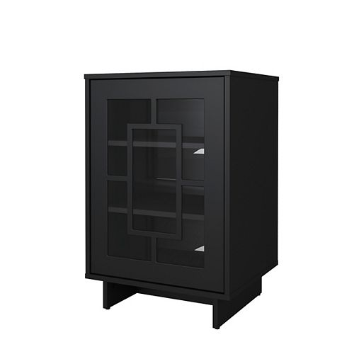 Armoire de rangement Paragon à 1 porte avec design rectangulaire en noir
